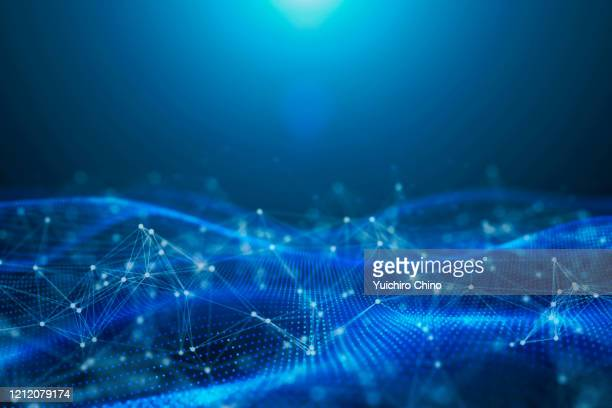digital data wave and network abstract background - wire mesh stock pictures, royalty-free photos & images