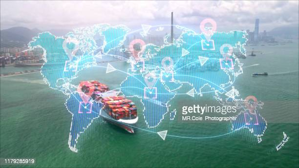 digital delivery concept, logistic and transportation technology concept.global business of cargo freight.international import export trade - big tech stock pictures, royalty-free photos & images