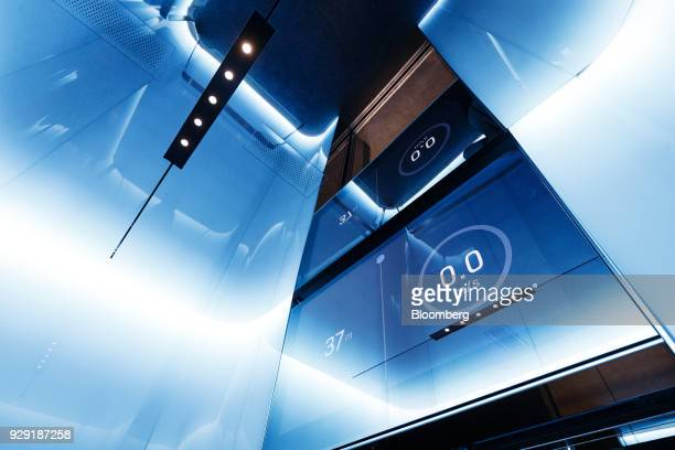 A digital dipslay shows the depth and speed of an elevator at the Kone Oyj High Rise Laboratory in Tytyri Finland on Tuesday March 6 2018 Kone which...
