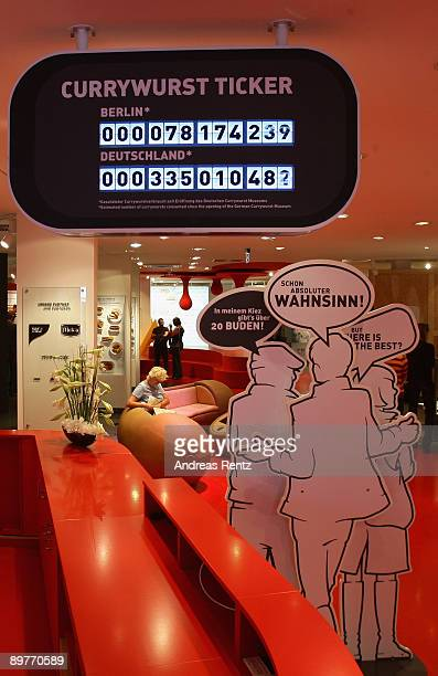 A digital display 'Currywurst Ticker' showing the number of currywurst sausages eaten in Berlin and in Germany is pictured at the 'Deutsches...