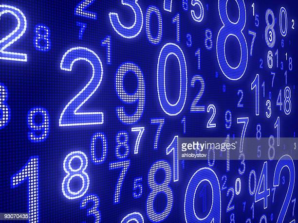 Digital display in blue featuring numbers
