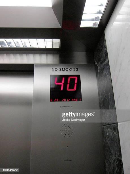 Digital Display in stainless steel Elevator interior showing floor 40. July 29 2012.