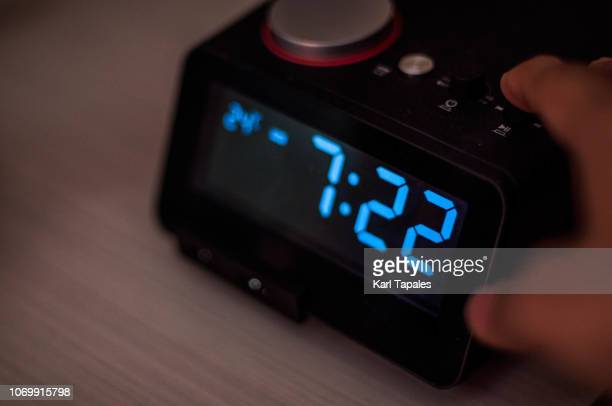digital display of modern alarm clock - alarm clock stock pictures, royalty-free photos & images