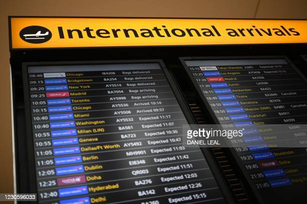 Digital display shows expected flight arrivals at London Heathrow Airport in west London, on January 15, 2021. - International travellers will need...