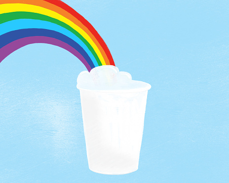 Digital drawing of a coffee cup with a rainbow - gettyimageskorea