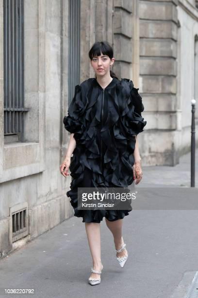 Digital Editor at Grazia Arabia Samantha de Reviziis wears an Anna Kiki dress and Manolo Blahnik shoes during Haute Couture Fall Winter 2018/2019 on...