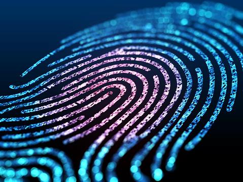 Digital fingerprint on black screen. 913879566