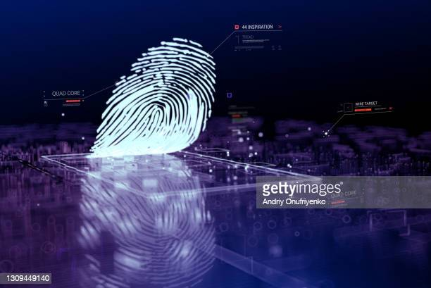 digital fingerprint scanning verification process - guarding stock pictures, royalty-free photos & images