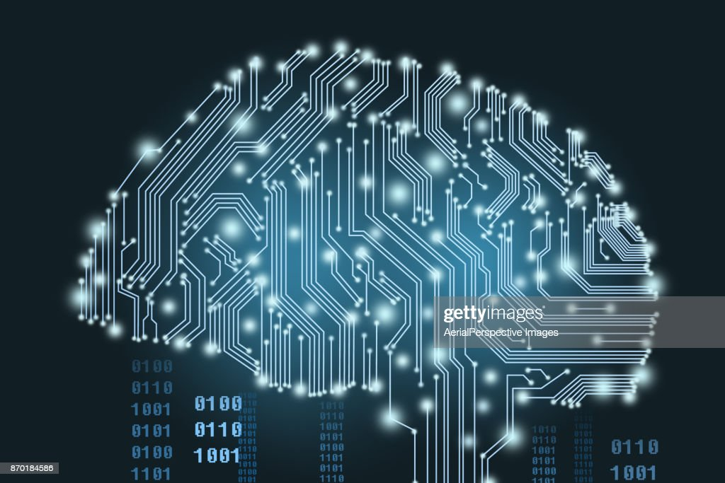 Digital Human Brain Covered with Networks : Stock Photo