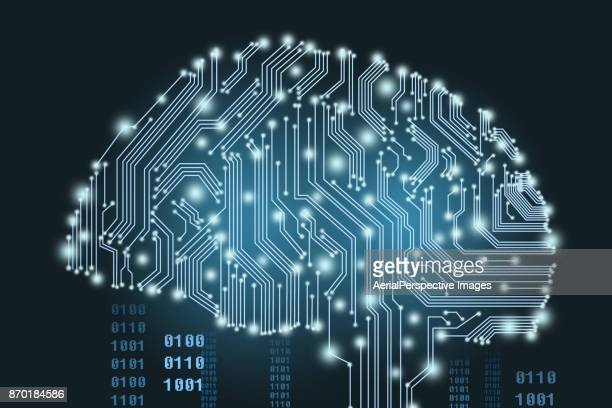 digital human brain covered with networks - artificial intelligence stock pictures, royalty-free photos & images