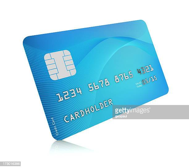 Digital image of a blue credit card on a white background