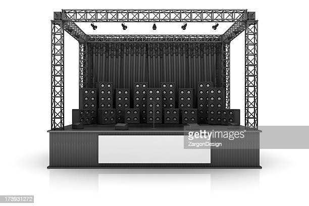 digital image of a rock stage with speakers on a white back - stage stock pictures, royalty-free photos & images