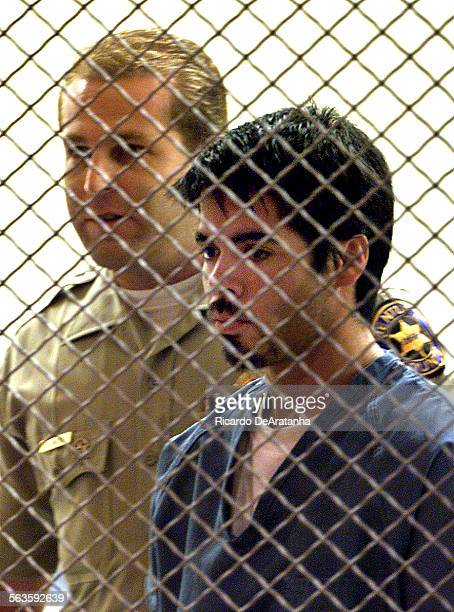 Digital Image taken on Wednesday 8/22/2001 Ventura CA – Photo by ^^^/LAT –– Suspect Victor Sanchez flanked by sheriff's deputy appeared today in the...