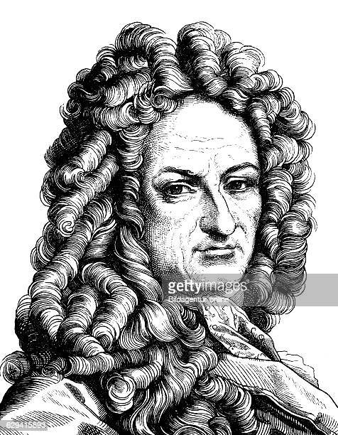 Digital improved image of gottfried wilhelm von leibniz, 1646 - 1716, portrait, historic illustration, 1880