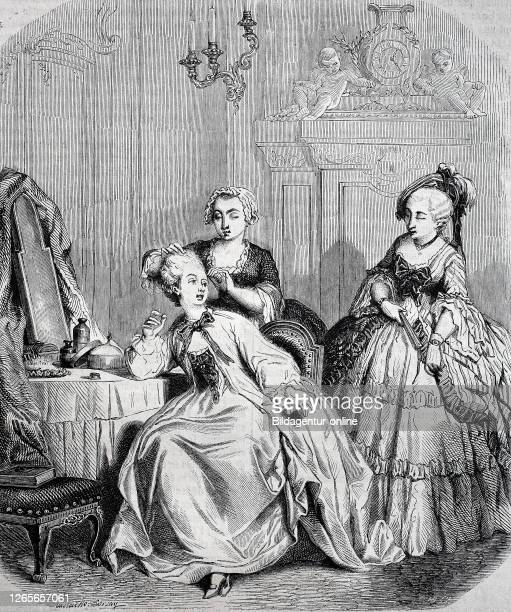 Digital improved reproduction, elegant women dressing, at the time of ludwig xv. France, original woodprint from th 19th century.