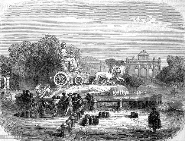 Digital improved reproduction, Fuente de Cibeles, Madrid, Spain, Brunnen der Gottin Kybele, Spanien, from an original print from the year 1855.