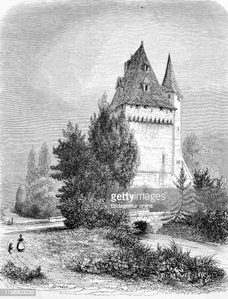 Digital improved reproduction keep kype a type of fortified tower Donjon France Wohnturm der fruheren Burg von Saintines HautsdeFrance Frankreich...