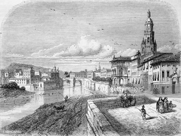 Digital improved reproduction, Murcia, a city in south-eastern Spain, eine Stadt im Sudosten von Spanien, from an original print from the year 1855.