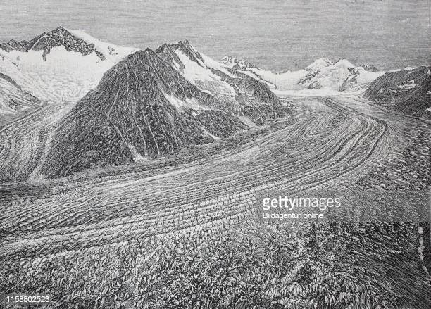 Digital improved reproduction The Aletsch Glacier Aletschgletscher or Great Aletsch Glacier is the largest glacier in the Alps Switzerland seen from...