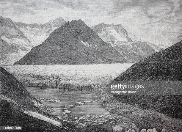 Digital improved reproduction The Aletsch Glacier glacier lake with lake Marjelensee Aletschgletscher or Great Aletsch Glacie is the largest glacier...