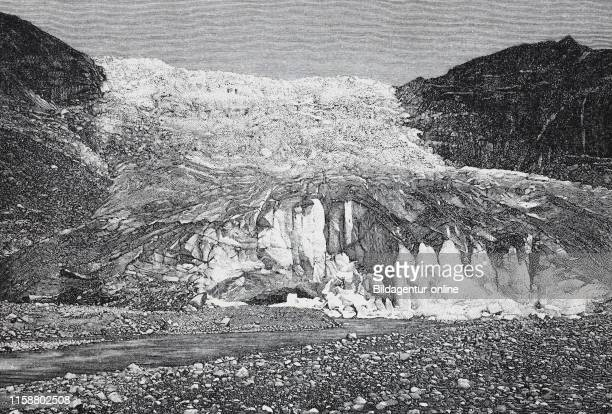 Digital improved reproduction The Rhone Glacier Rhonegletscher Rottengletscher a glacier in the Swiss Alps and the source of the river Rhone