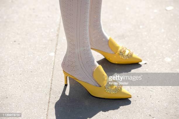 Digital Influencer and founder of SDR Samantha de Reviziis wears Giannico shoes on February 26 2019 in Paris France