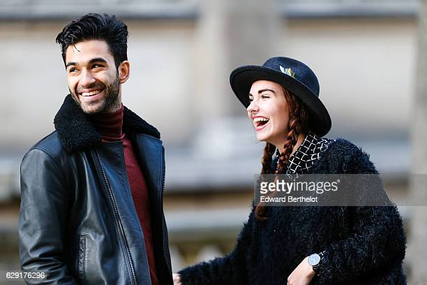 Digital influencer and youtuber Anil Brancaleoni @WaRTek, and fashion and life style blogger Ophelie Duvillard @opheduvillard, during a street style...