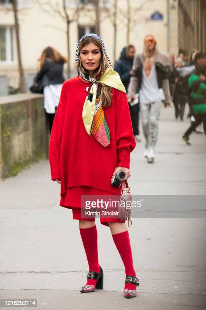 Digital influencer Angela Rozas wears an Ana Locking sweater and skirt, Dior bag, Bimba and Lola scarf and Magrit shoes on February 27, 2020 in...