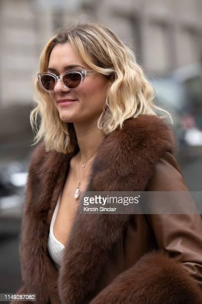 Digital Influencer AnneLaure Mais Moreau Adenorah wears a Saks Potts coat on March 02 2019 in Paris France