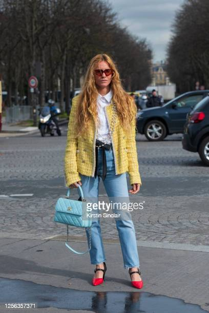 Digital influencer Blanca Miró Scrimieri wears all Chanel and Zimmermann sunglasses on March 03, 2020 in Paris, France.