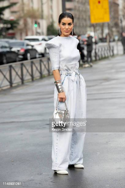 Digital Influencer Camila Coehlo wears all Balmain on March 01 2019 in Paris France