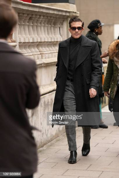 Digital Influencer Carlo Sestini wears Belstaff during London Fashion Week Men's January 2019 on January 07, 2019 in London, England.