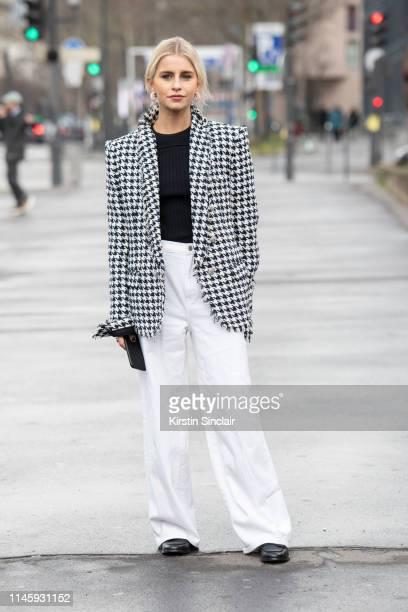 Digital Influencer Caroline Daur wears all Balmain on March 01 2019 in Paris France