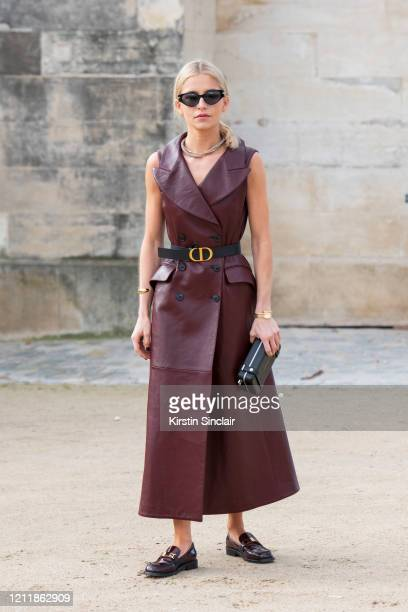 Digital influencer Caroline Daur wears all Dior on February 25, 2020 in Paris, France.