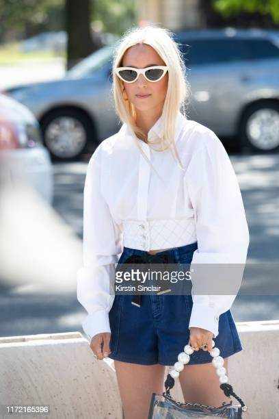 Digital influencer Charlotte Groeneveld wears all Chanel with Celine sunglasses on July 02 2019 in Paris France