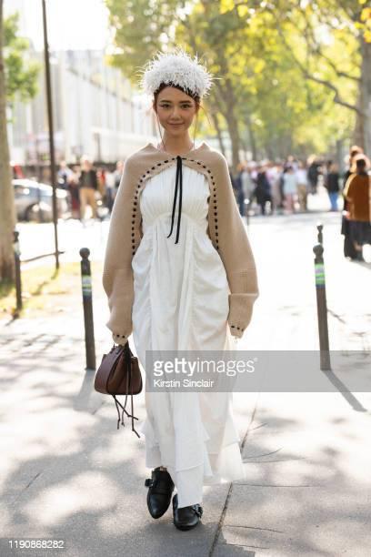 Digital influencer Elva Ni wears all Loewe during Paris Fashion Week Womenswear Spring Summer 2020 on September 27, 2019 in Paris, France.