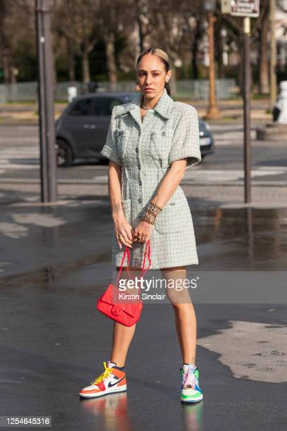 Digital influencer Hera Pradel wears all Chanel and Nike trainers on March 03, 2020 in Paris, France.