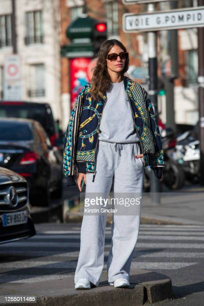 Digital influencer Jen Azoulay wears all Lacoste and Loewe sunglasses on March 03, 2020 in Paris, France.