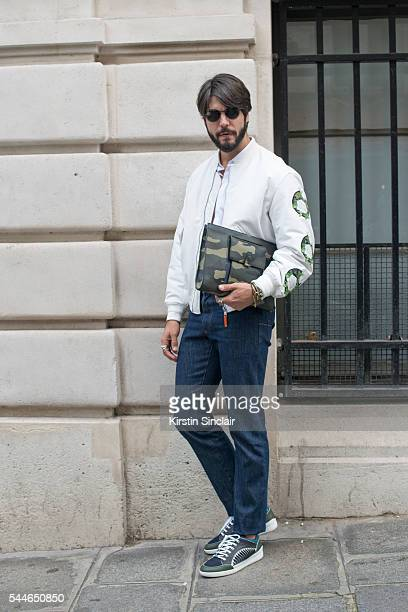 Digital Influencer Kadu Dantas wears all Dior on day 4 of Paris Collections Men on June 25 2016 in Paris France Kadu Kantas
