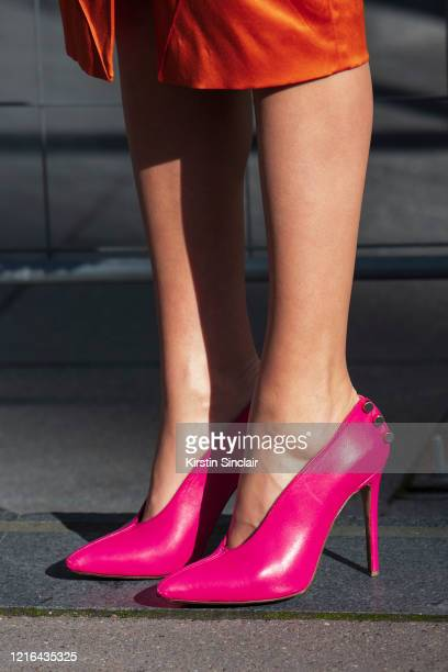 Digital influencer Landiana Yolo wears Hardot shoes on February 26, 2020 in Paris, France.