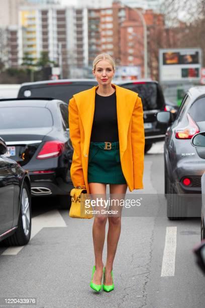 Digital influencer Leonie Hanne wears all Balmain with Balenciaga shoes on February 28, 2020 in Paris, France.