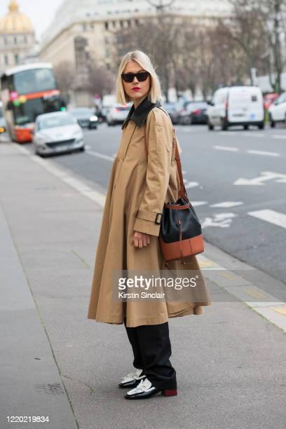 Digital influencer Linda Tol wears all Loewe with Tol Eyewear sunglasses on February 28, 2020 in Paris, France.
