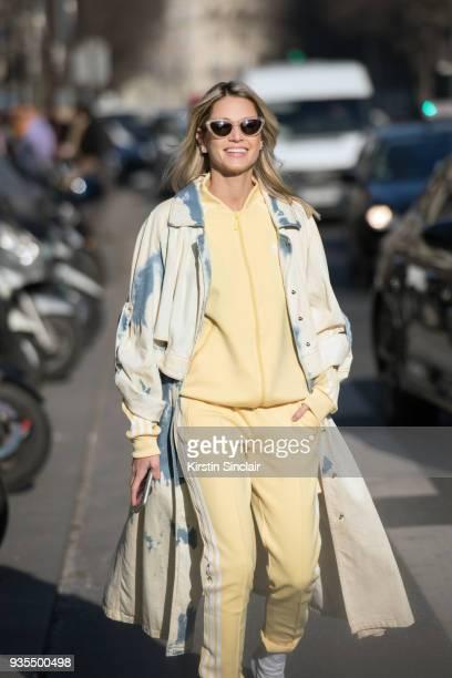 Digital Influencer Maria Helena Bordon Meireles wears an Adidas track suit Esteban Cortazar jacket and Helena Bordon sunglasses day 3 of Paris Womens...