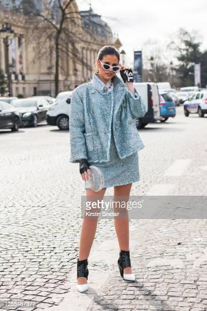 Digital influencer Mariana Almeida Fretas wears all Chanel on March 03, 2020 in Paris, France.
