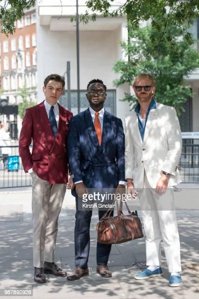 Digital Influencer Mathias le Feuvre wears an Alexandre Wood jacket trousers and tie Eaton shirt and Camina shoes with Fashion stylist Edmond Kamara...