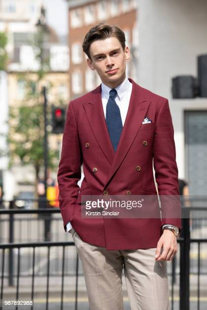 Digital Influencer Mathias le Feuvre wears an Alexandre Wood jacket trousers and tie Eaton shirt during London Fashion Week Men's on June 10 2018 in...