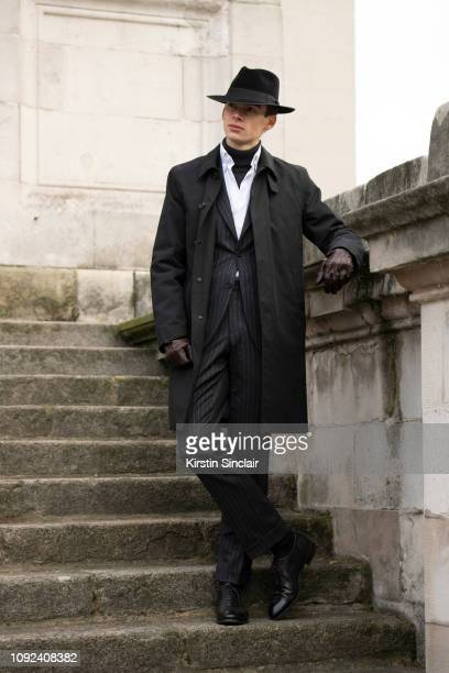 Digital Influencer Mathias Le Fevre wears Camina shoes Laird hat Emma Willis shirt Gieves and Hawkes suit and jacket Luca Faloni polo neck jumper...