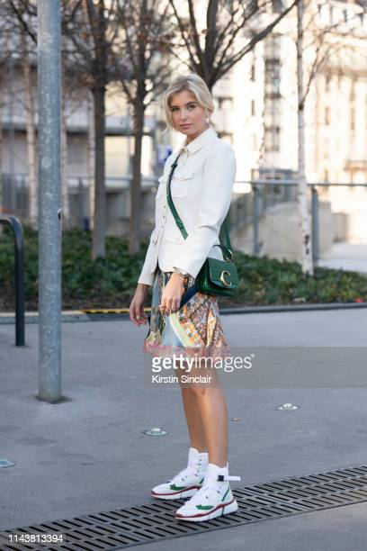 Digital Influencer Xenia Adonts wearing Chloé on February 28, 2019 in Paris, France.