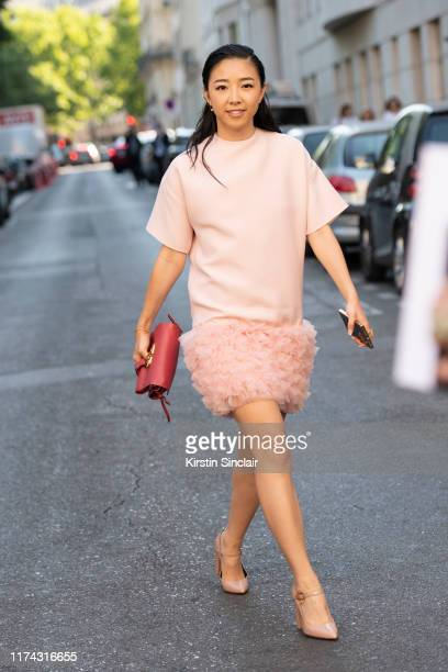 Digital influencer Yuyu Zhangzou wears all Valentino on July 03 2019 in Paris France