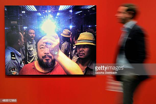 Digital Lambda Print mounted on Aluminium of Chinese artist Ai Weiwei is seen during the ART Cologne press preview at Koelnmesse on April 9 2014 in...